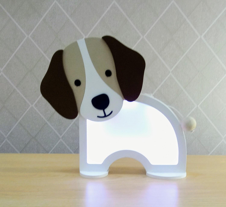 Luminária Abajur Cachorro De Mesa Com Led Com Fio