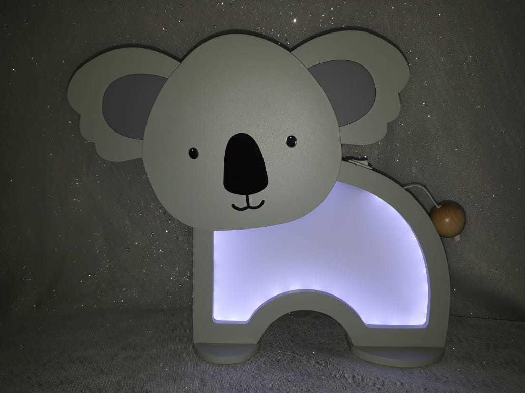 Luminária Abajur Coala De Mesa Com Led Com Fio