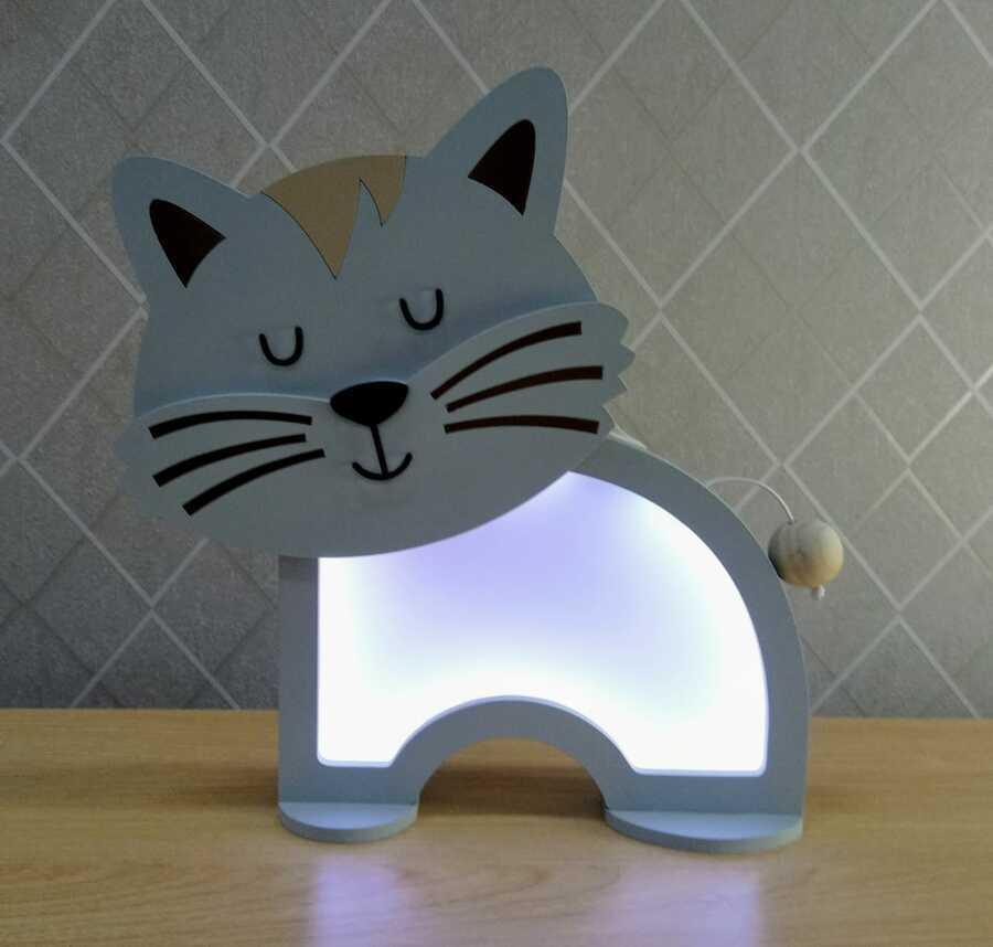 Luminária Abajur Gato De Mesa Com Led Com Fio