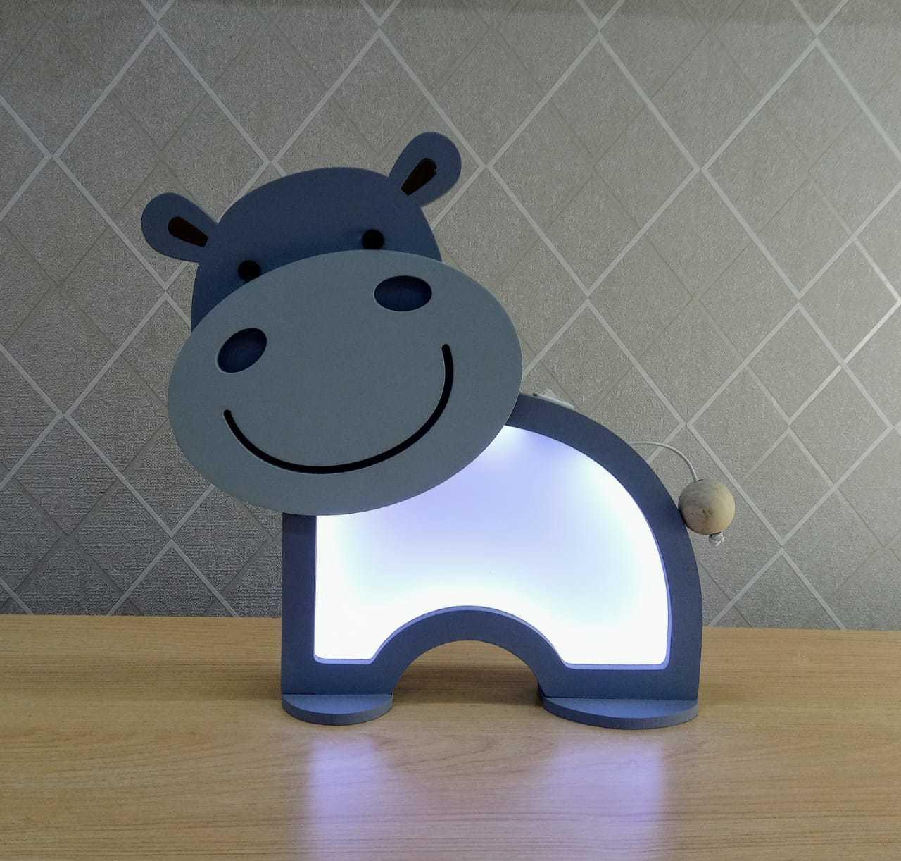 Luminária Abajur Hipopótamo De Mesa Com Led Com Fio