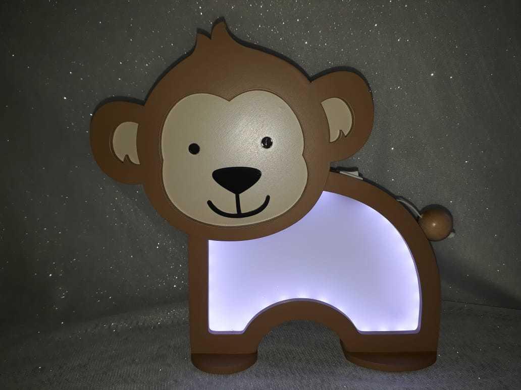 Luminária Abajur Macaco De Mesa Com Led Com Fio