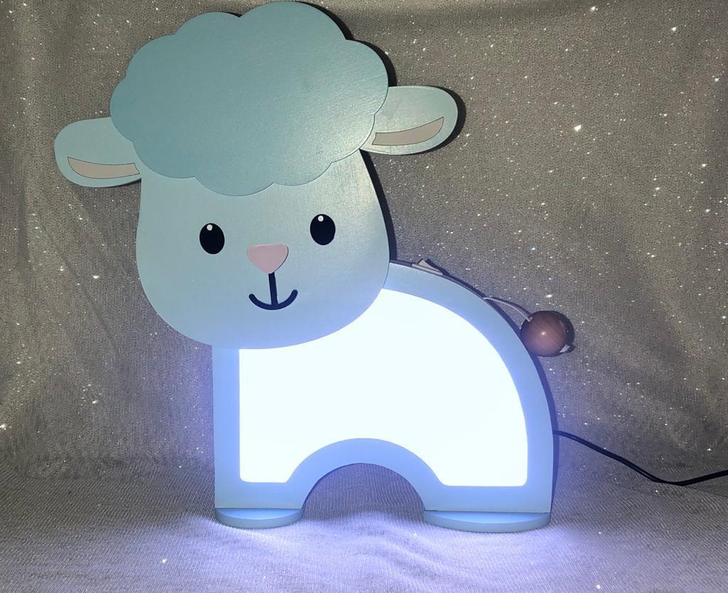 Luminária Abajur Ovelha De Mesa Com Led Com Fio