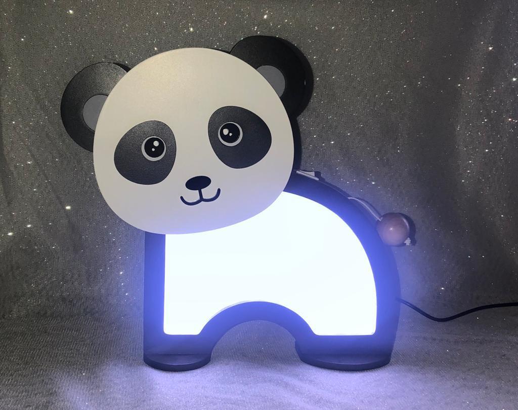 Luminária Abajur Panda De Mesa Com Led Com Fio