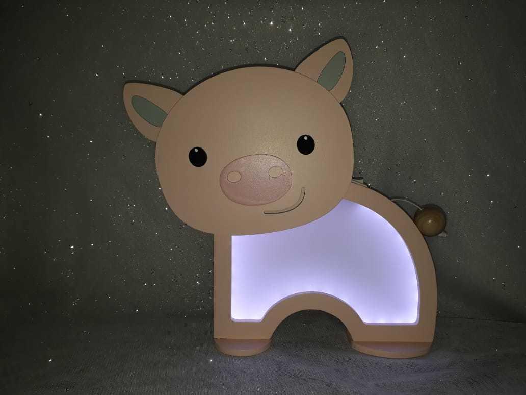 Luminária Abajur Porquinho De Mesa Com Led Com Fio