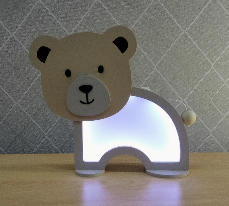 Luminária Abajur Ursinho De Mesa Com Led Com Fio