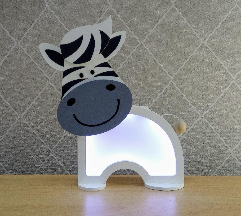 Luminária Abajur Zebra De Mesa Com Led Com Fio