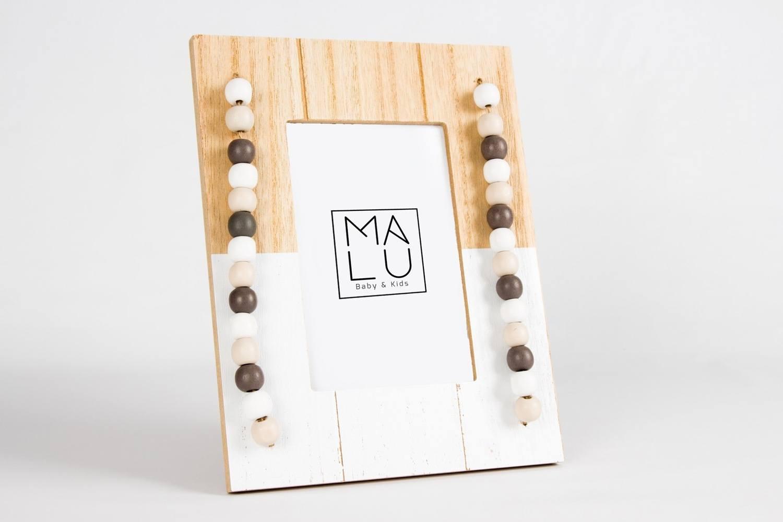 Porta Retrato Retrô Branco/Bege