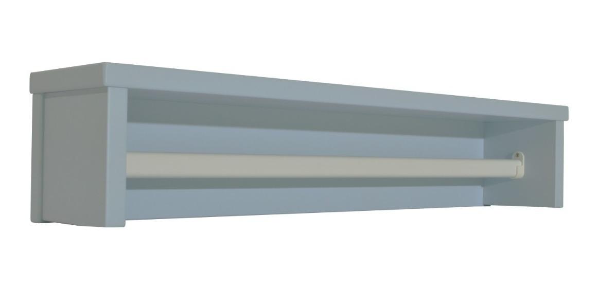 Prateleira Infantil Azul Retrô C/ Cabideiro De Metal - Quater