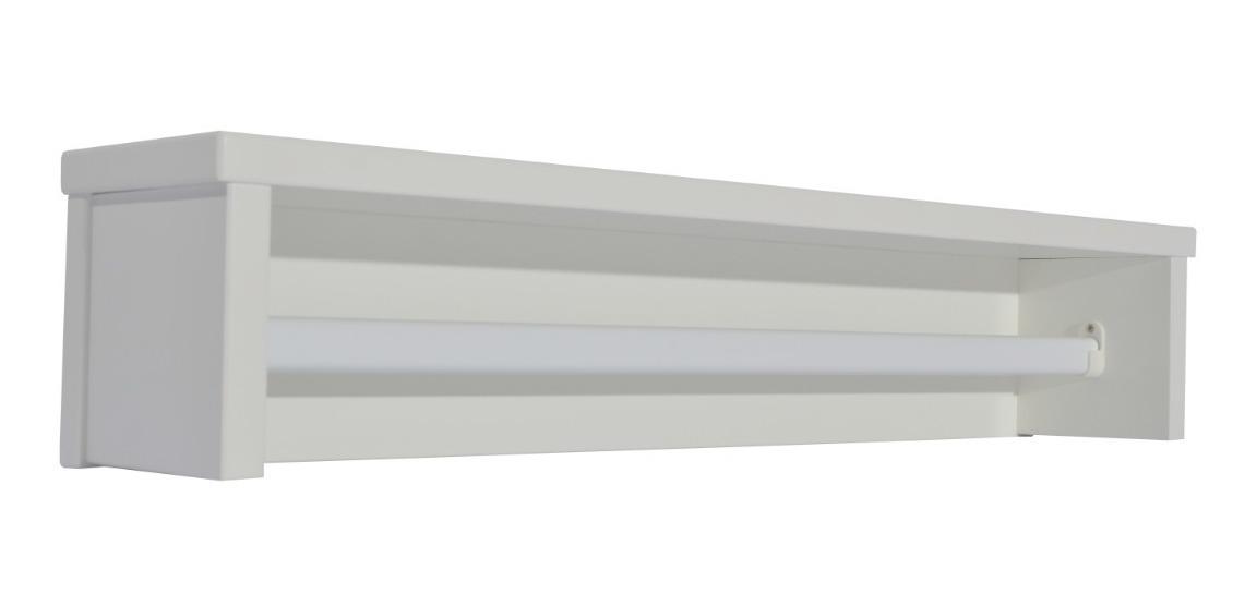 Prateleira Infantil Branco Fosco C/ Cabideiro De Metal - Quater