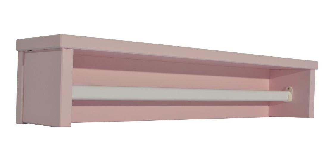 Prateleira Infantil Rosa C/ Cabideiro De Metal - Quater