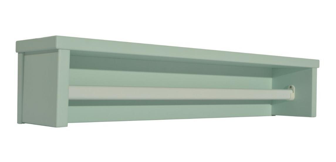 Prateleira Infantil Verde Retrô C/ Cabideiro De Metal - Quater