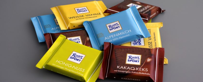 Known for it's shape and many varieties, famous German chocolate brand Ritter Sport!