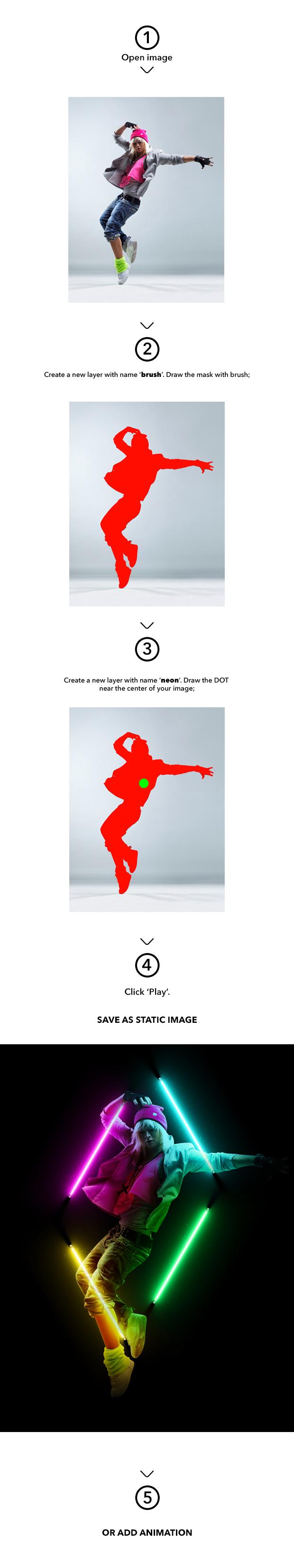 Gif Animated Neon Light Photoshop Action - 1