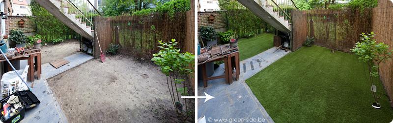 tutoriel pose de gazon artificiel sur un jardin greenside blog. Black Bedroom Furniture Sets. Home Design Ideas