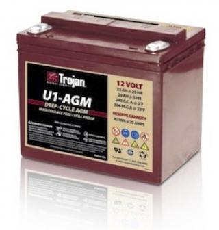 0.4 kWh Trojan 12V Sealed AGM Battery U1-AGM