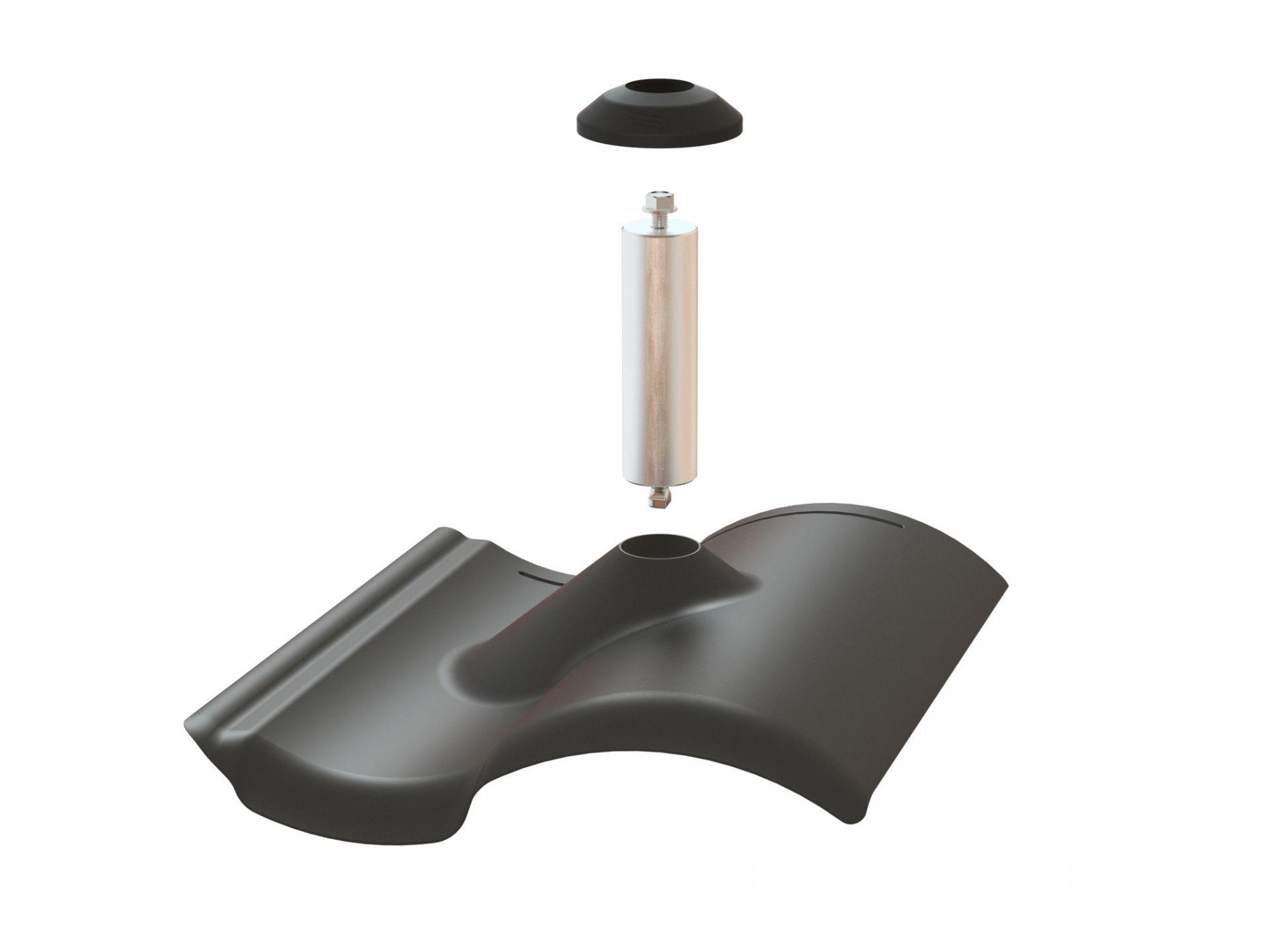 Pegasus Solar S-Tile Flashing w/ Post & EPDM Boot, Black, PSTR-FSB0