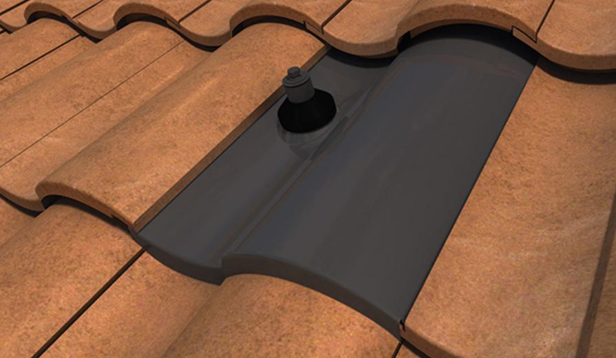 Quick Mount Conduit Penetration Flashing, S Tile, Black, QMCPT-S B, Qty 1