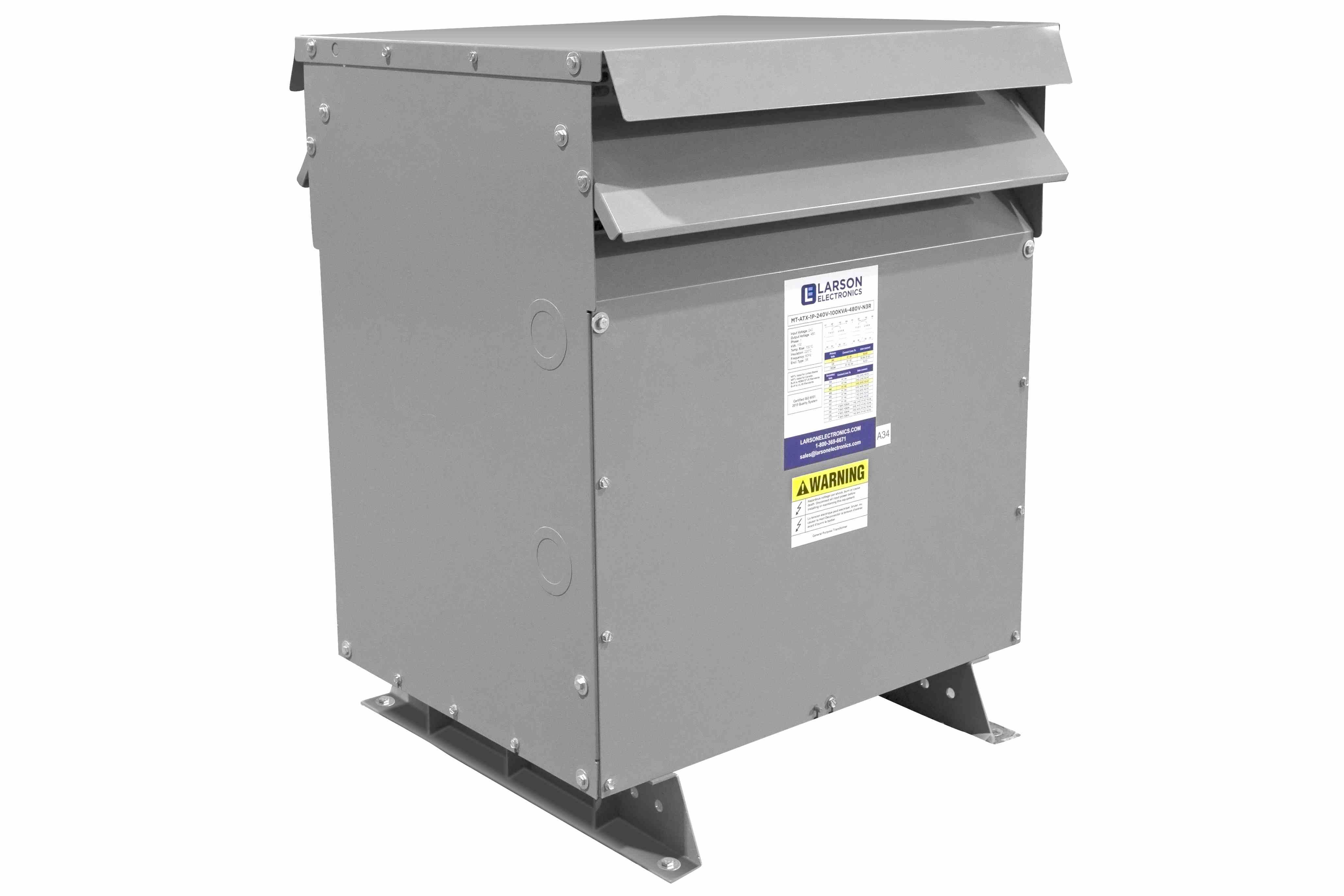 100 kVA 3PH Isolation Transformer, 480V Delta Primary, 600V Delta Secondary, N3R, Ventilated, 60 Hz