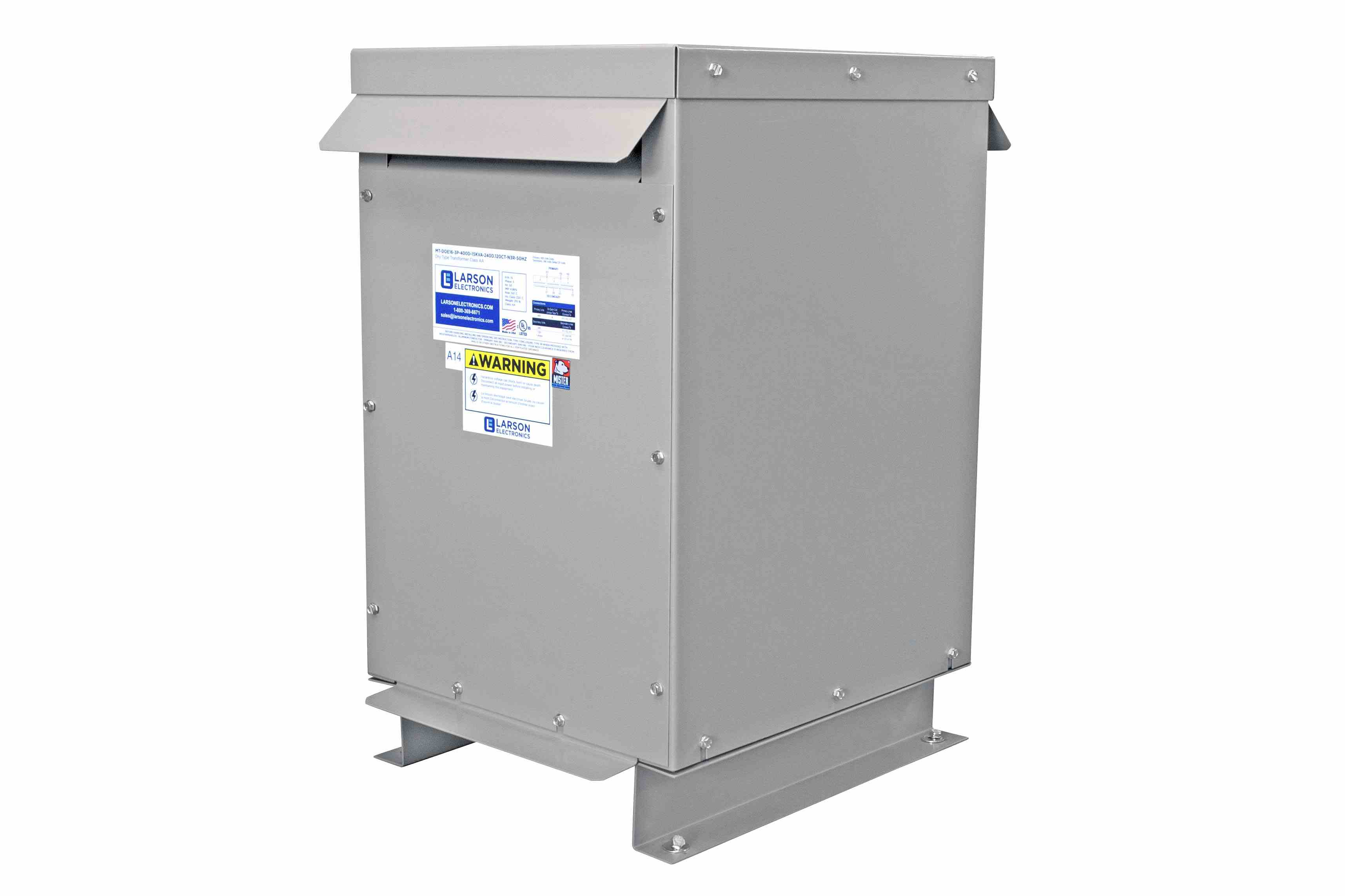 125 kVA 3PH Isolation Transformer, 480V Delta Primary, 400V Delta Secondary, N3R, Ventilated, 60 Hz