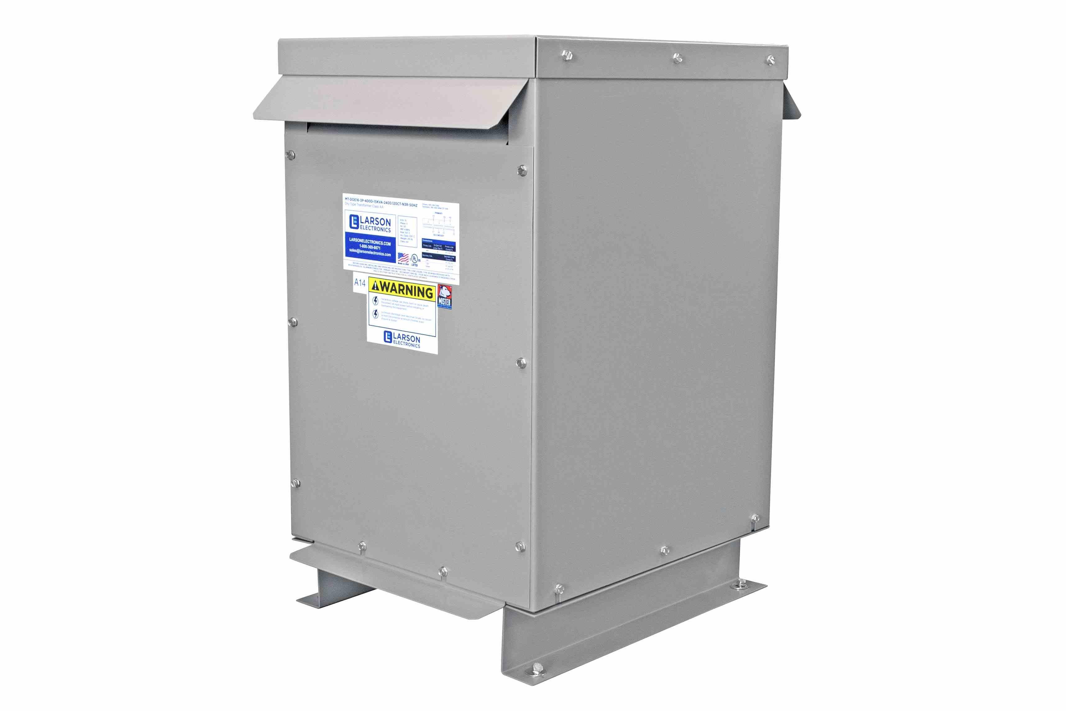 15 kVA 3PH Isolation Transformer, 208V Wye Primary, 380Y/220 Wye-N Secondary, N3R, Ventilated, 60 Hz