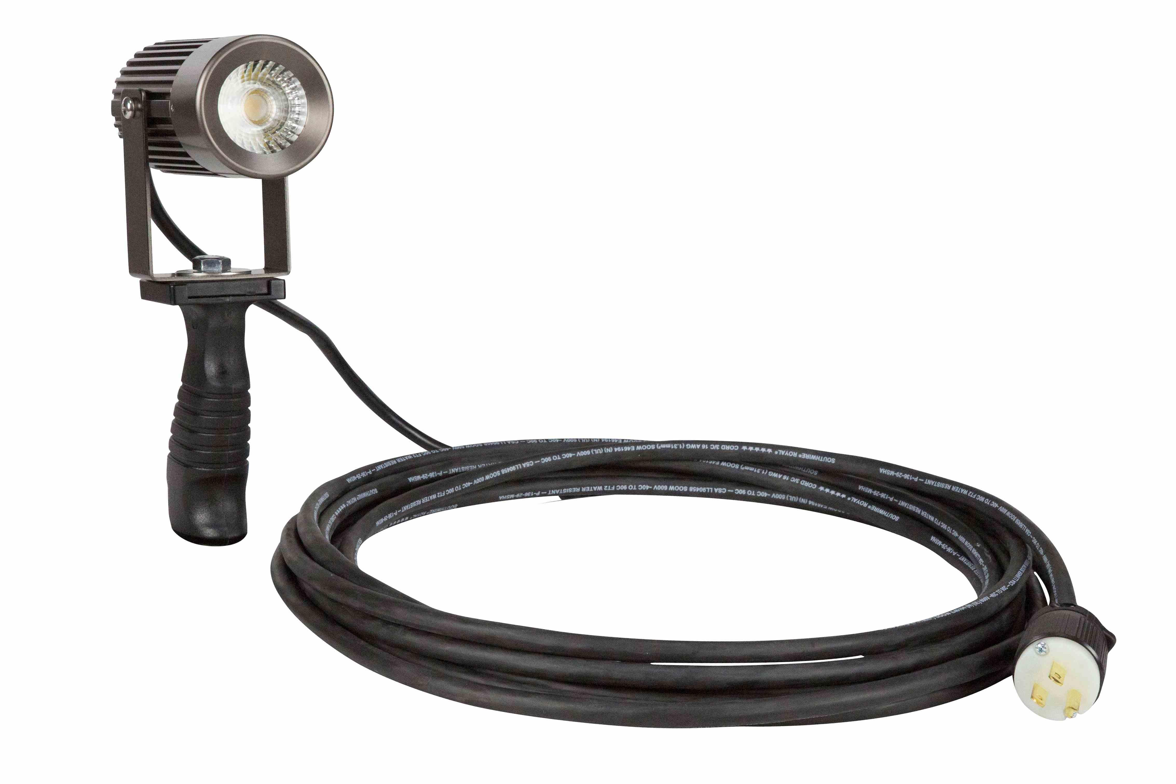18 Watt Handheld LED Spotlight for Industrial Lighting -Articulating Head- Polycarbonate Handle IP65