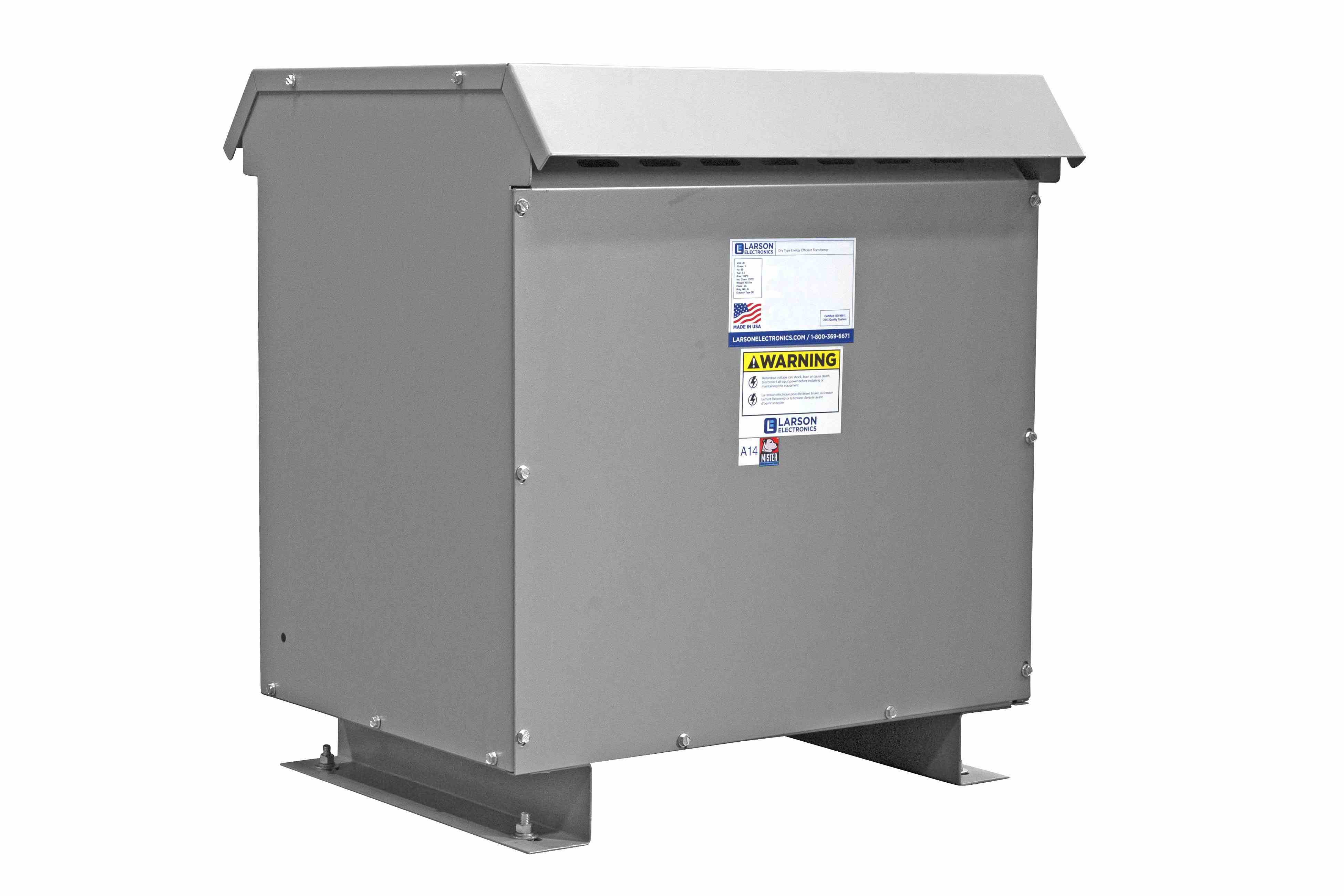 45 kVA 3PH DOE Transformer, 208V Delta Primary, 380Y/220 Wye-N Secondary, N3R, Ventilated, 60 Hz