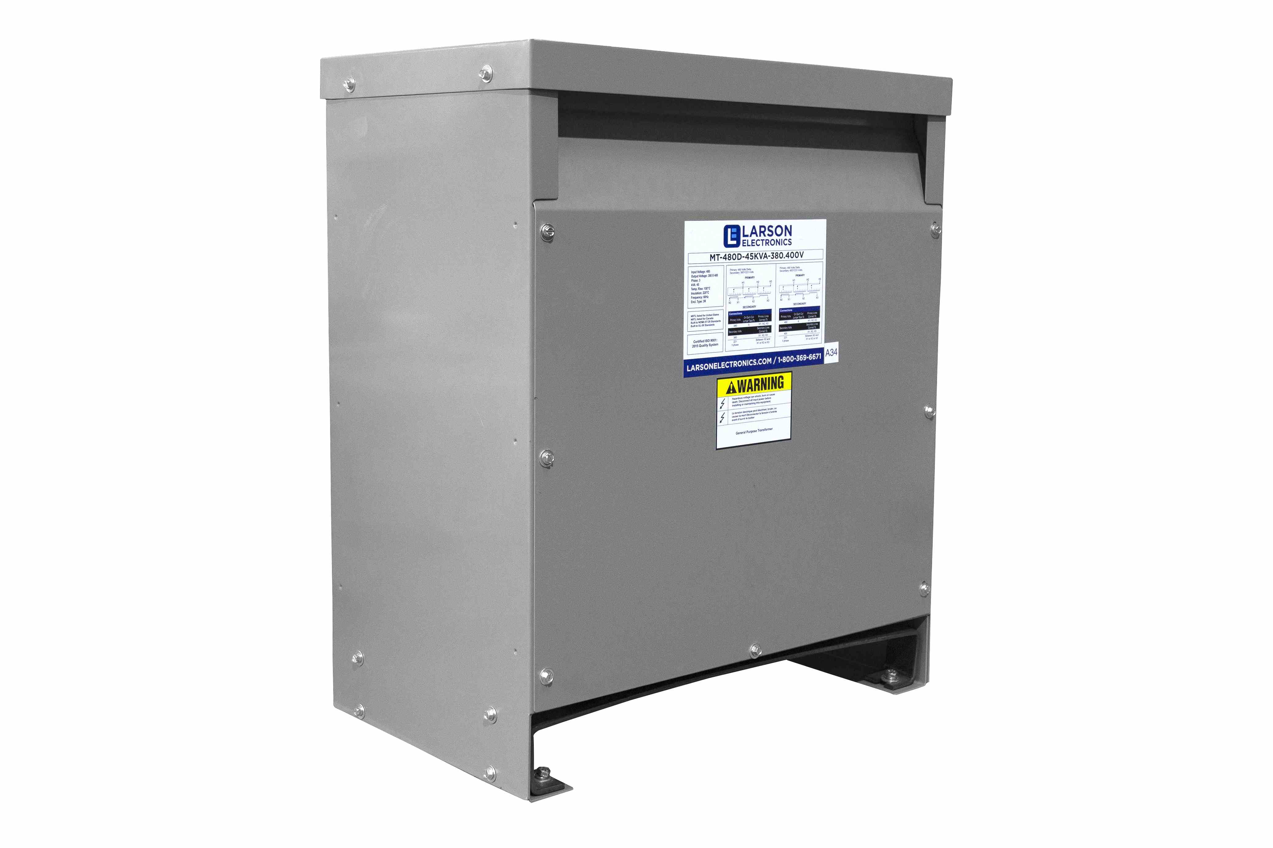 50 kVA 3PH Isolation Transformer, 480V Wye Primary, 208Y/120 Wye-N Secondary, N3R, Ventilated, 60 Hz