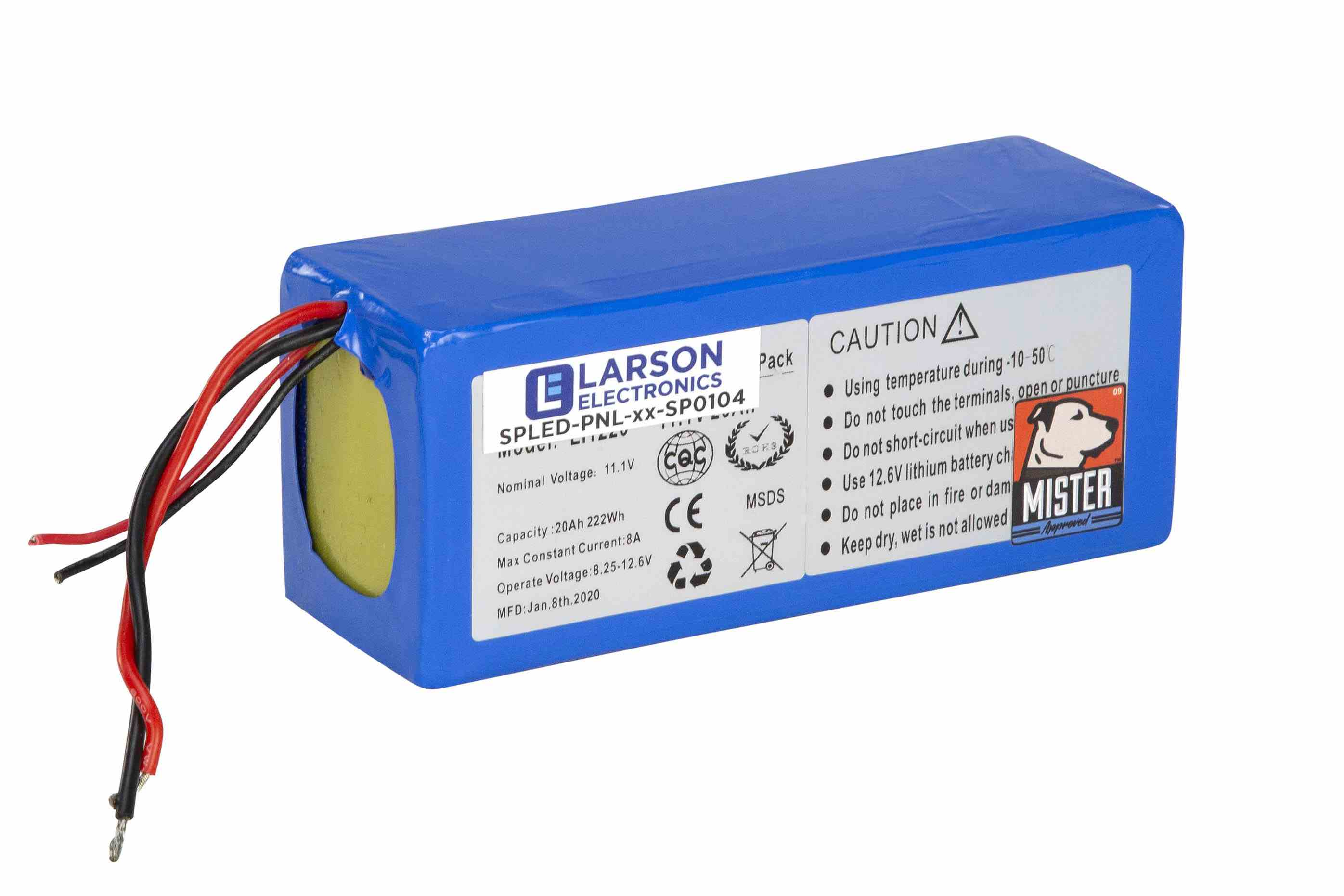 Replacement 40aH Lithium Ion Battery Pack for Solar Panels