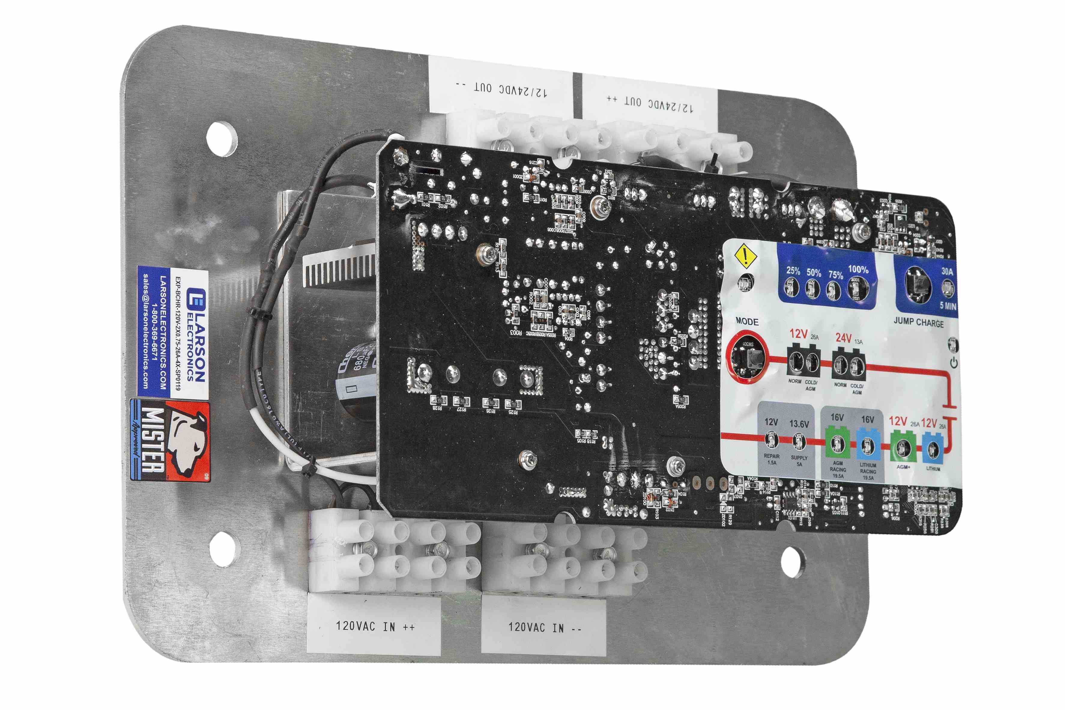 Replacement Circuit Board and Internal Back Plate for EXP-BCHR-120V-2X0.75-26A-4X Battery Charger