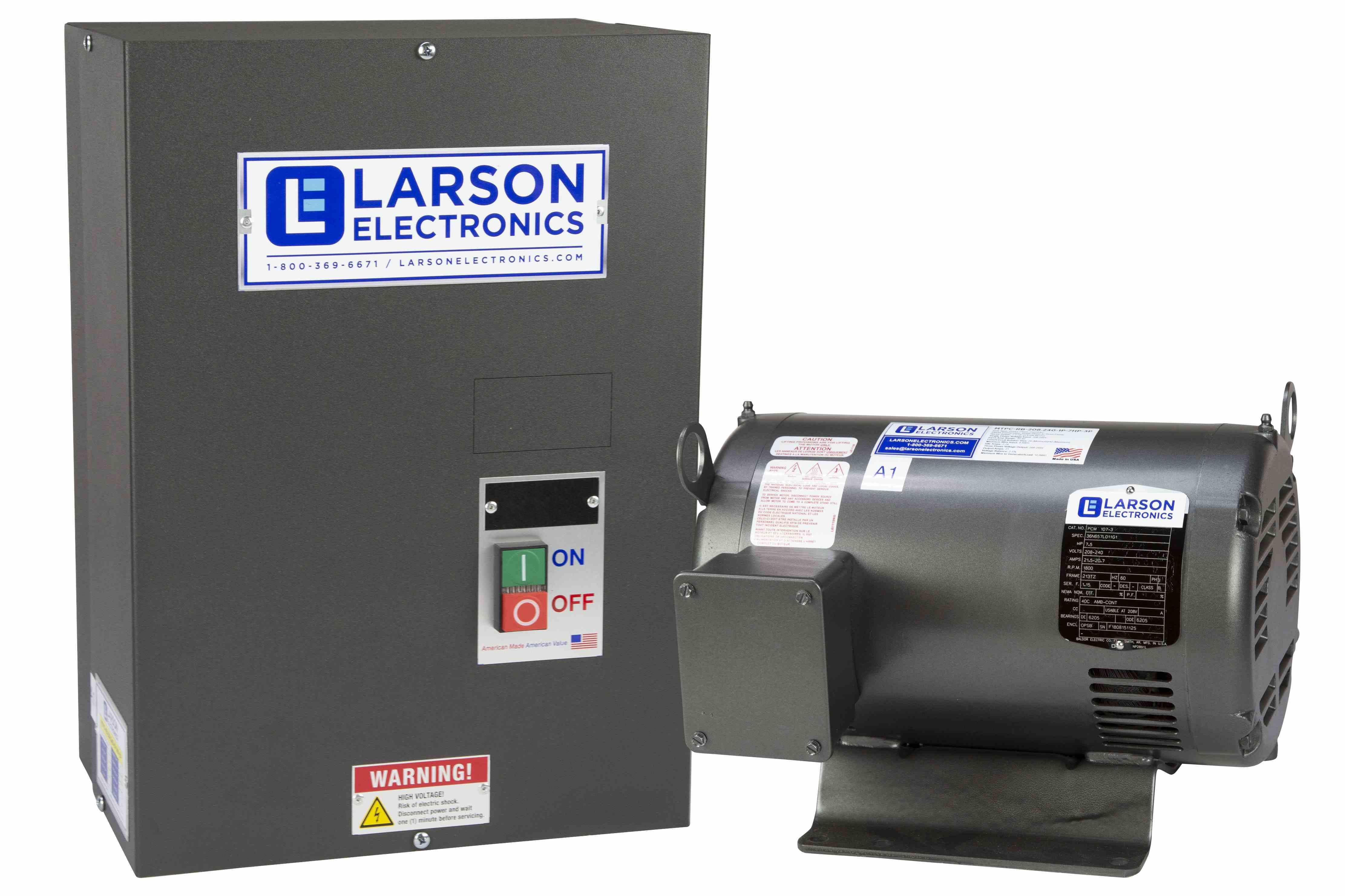 Rotary Phase Converter for 15HP Medium Loads, 220V 1PH to 3PH, 42.9 Amps Output, 25HP Idler, NEMA 1