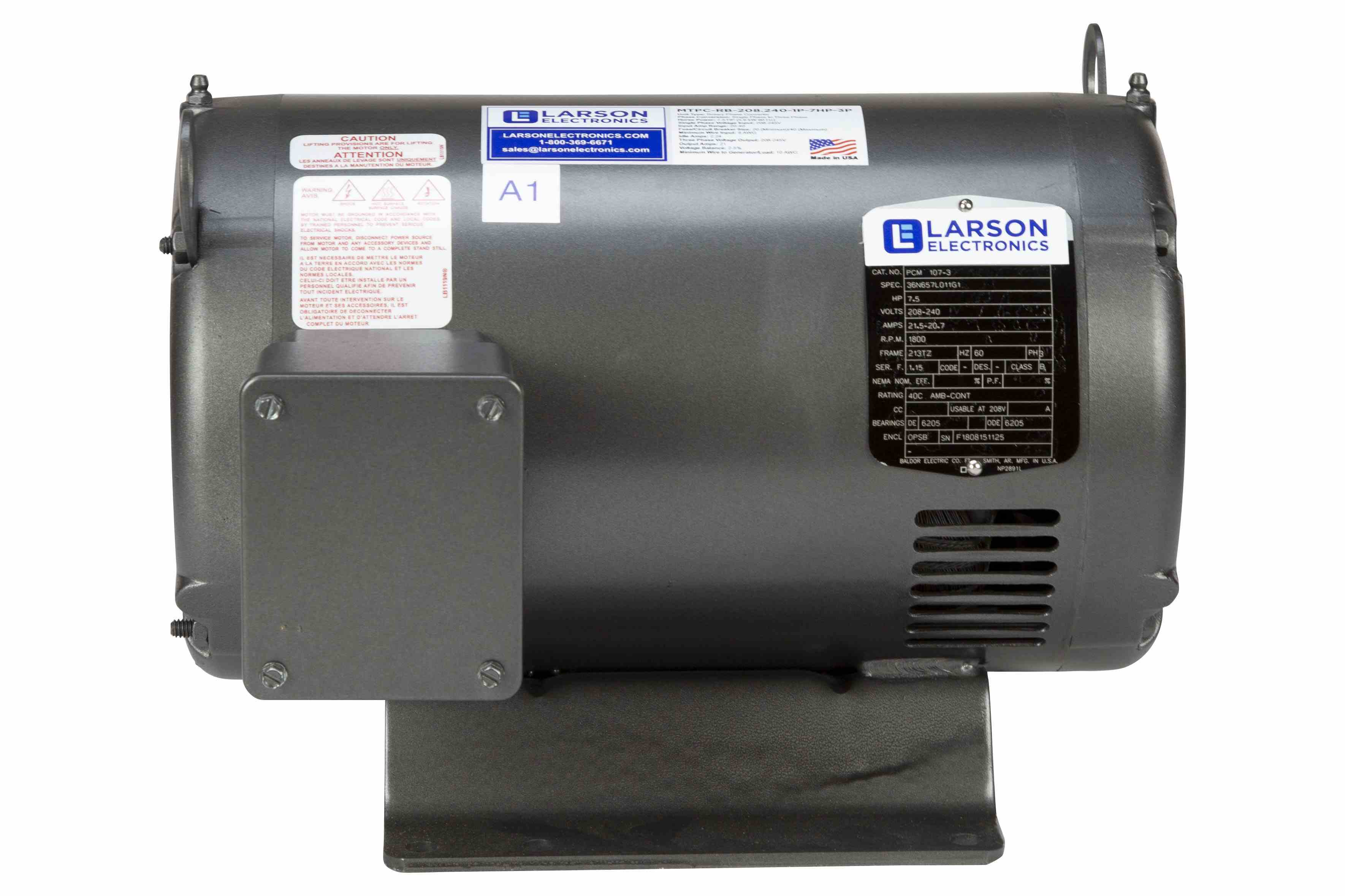 Rotary Phase Converter for 3HP Easy Loads, 230V 1PH to 3PH, 8.2 Amps Output, 5HP Idler, NEMA 1