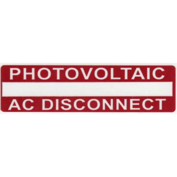 Hellermann: PHOTOVOLTAIC AC DISCONNECT Variable Imprint Rating Label (596-00237)