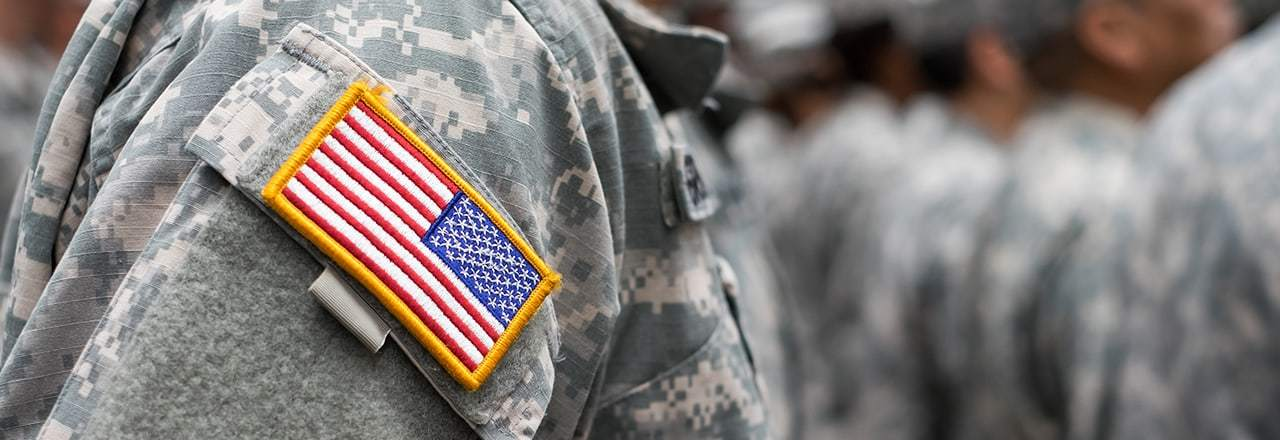 American Flag Badge on Soldier's Uniform