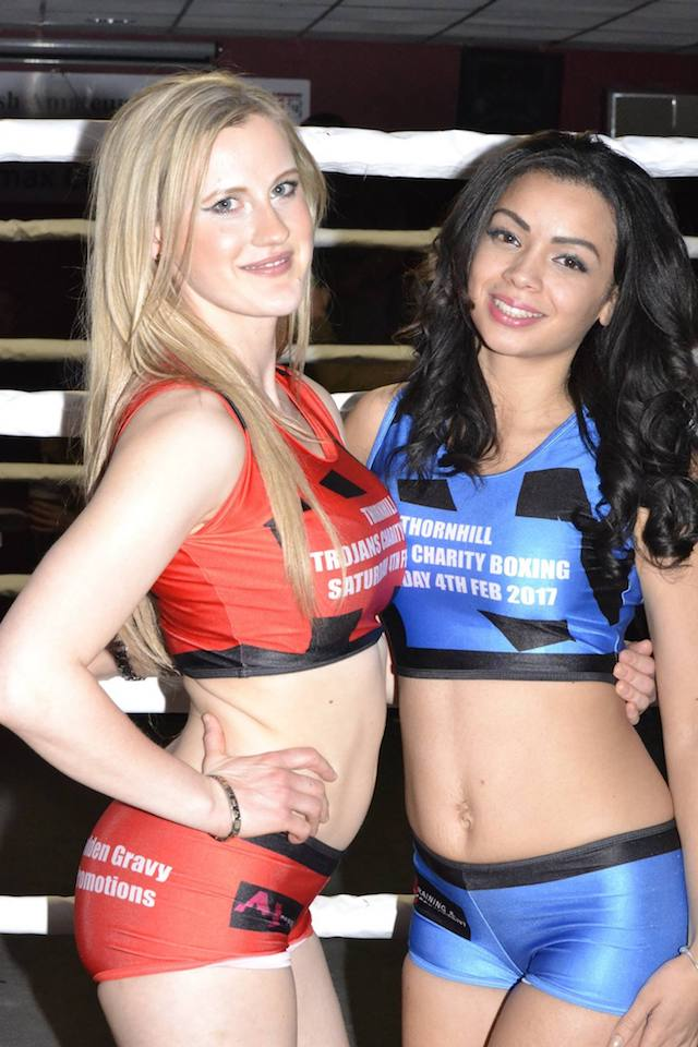 Ring Girls Thornhill Trojans Dewsbury Charity Boxing 4th Feb 2017 01
