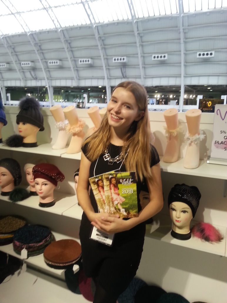 Promotional Model with Violet Legwear at London Olympia for Pure London 24th/25th July