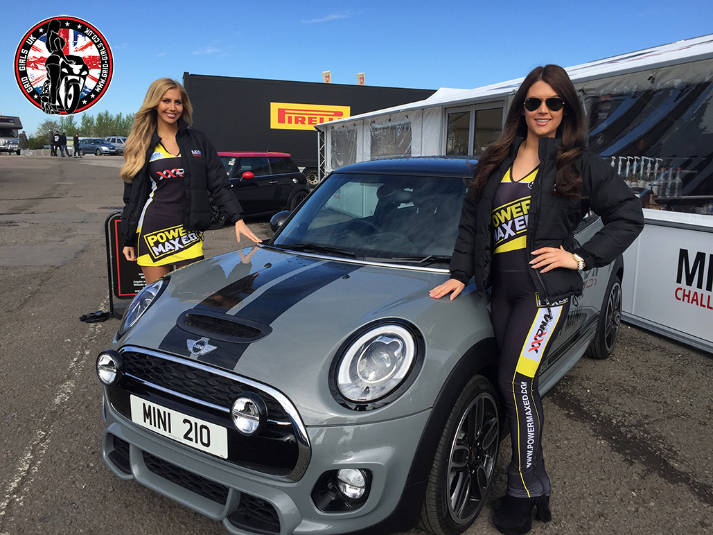 Grid Girls at Donington Park Round of MINI Challenge in April 2015