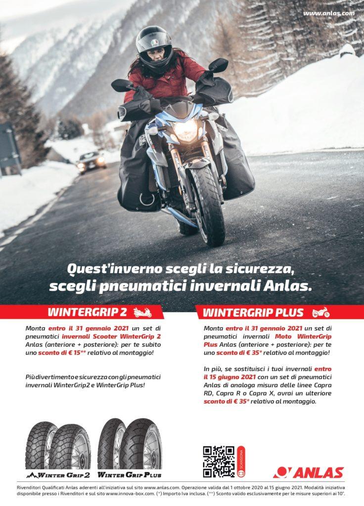 Promozione Anlas sui pneumatici invernali moto e scooter WinterGrip Plus e WinterGrip 2