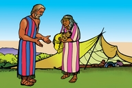 Picture 8: Abraham, Sarah and Isaac; Blackfoot: Siksika ▪ Picture 8: Abraham, Sarah and Isaac; First Nations English