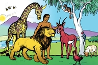 Muvwimbimbi watete (1) Kalunga atengele Alama na tunyama nawa (Picture 1. Adam and the Animals)