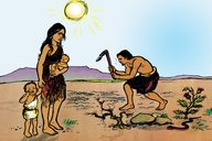 Adamu na Haawî b'atin'yaa uwa (Picture 4. Adam and Eve Outside the Garden)