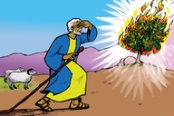Musa kajim tuskata (Picture 14. Moses and the Burning Bush)