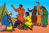 Di Spayda jahsin dɛŅ wit di friut of Kenan (Picture 2. The Spies with the Fruit of Canaan)