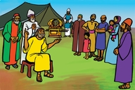 Jɔshua tel di pipul watin fɔ du (Picture 8. Joshua Instructs the People)