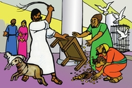 Jisɔs drɛb ivul man dɛn (Picture 22. Jesus Drives Out Evil Men)