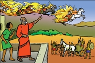 Ɛlaysha ɛn papa Gɔd i ami man dɜn (Picture 3. Elisha and the Army of God)