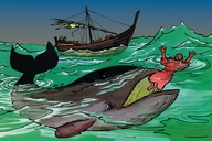 Jona ɛn di babala fish (Picture 8. Jonah and the Great Fish)