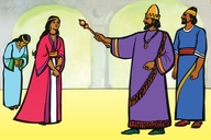 Ɛsta ɛn di Kiŋ (Picture 10. Esther and the King)