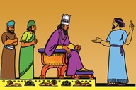 Daniɛl ɛn di Kiŋ na Babilɔn (Picture 14. Daniel and the King of Babylon)