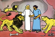 Daniɛl insay di layɔn dɜn ol (Picture 18. Daniel in the Lions' Den)