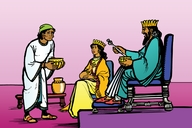 Nɛyimaya go bifo di alagba Kiŋ (Picture 19. Nehemiah Before the Great King)